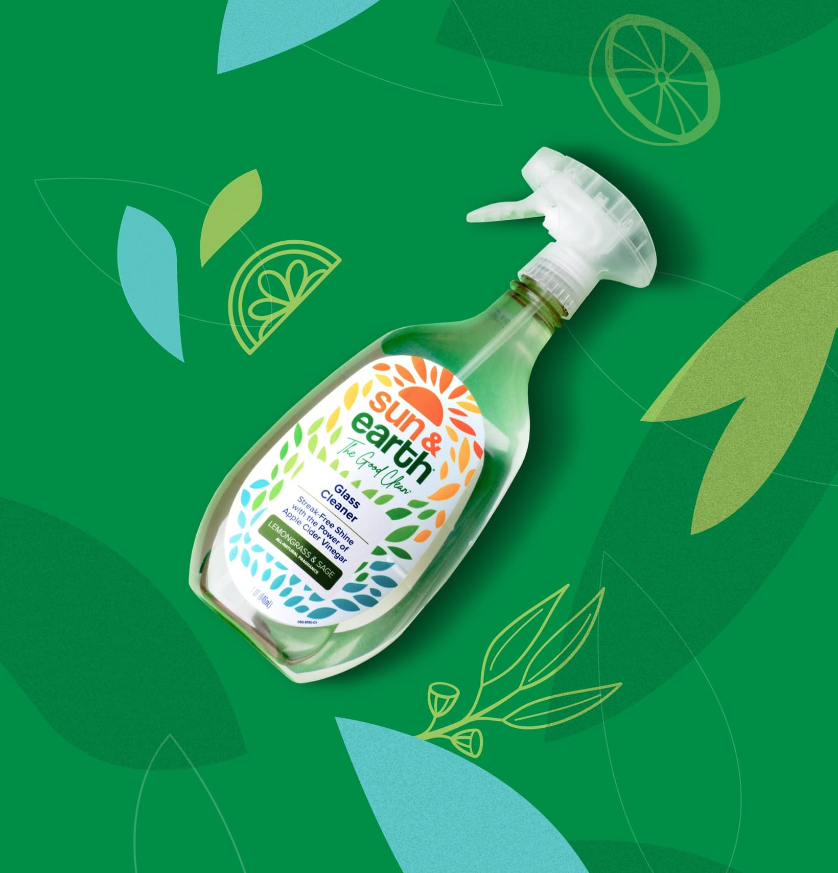 Sun & Earth plant-based product on green background