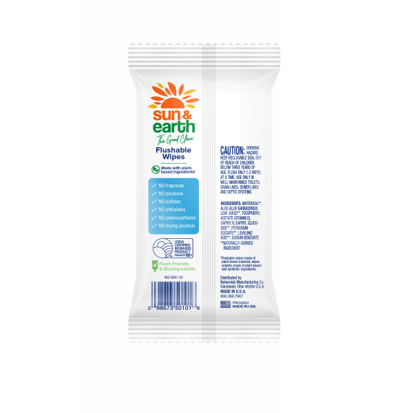 Sun & Earth 12 count biodegradable flushable wipes back