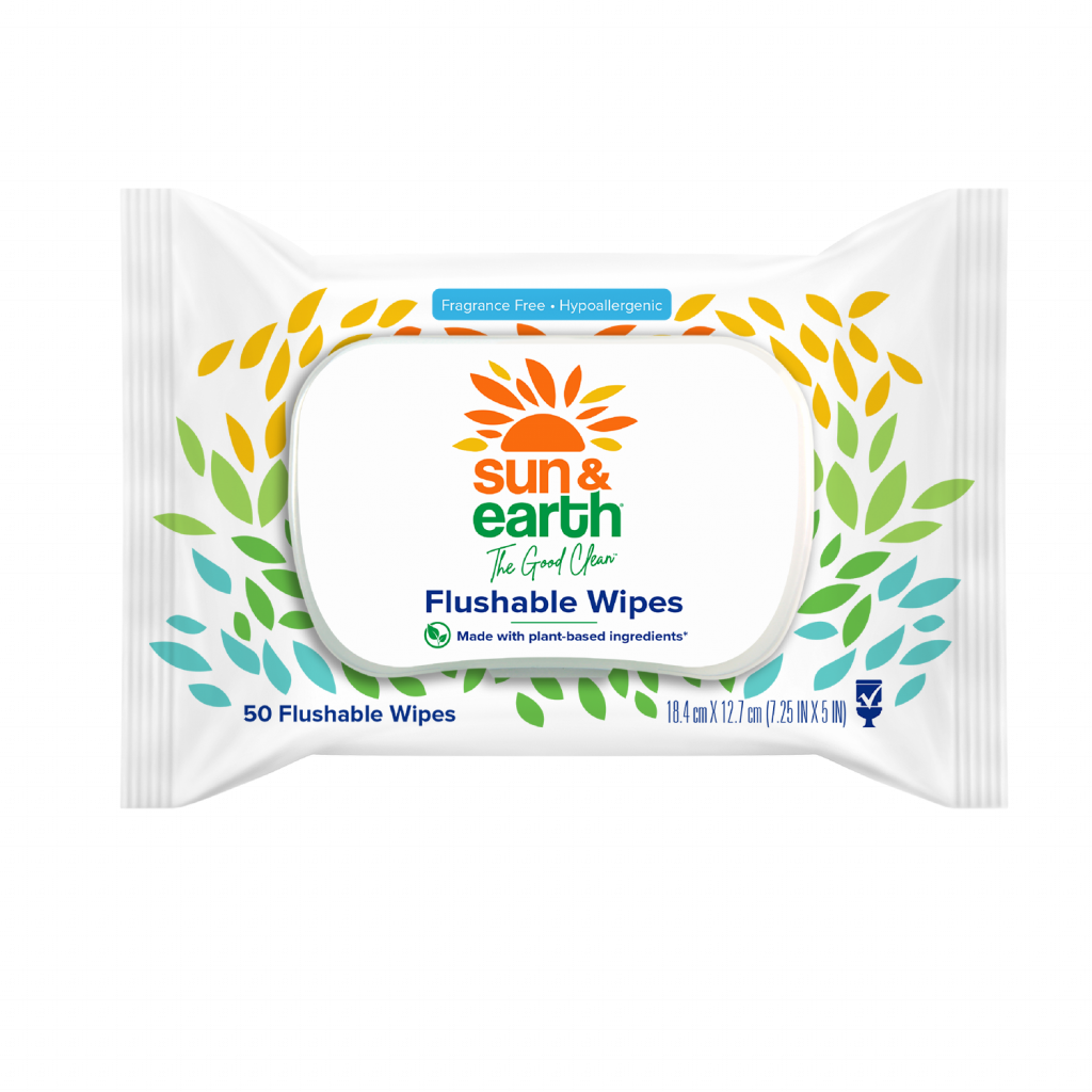 Sun & Earth 50 count biodegradable flushable wipes