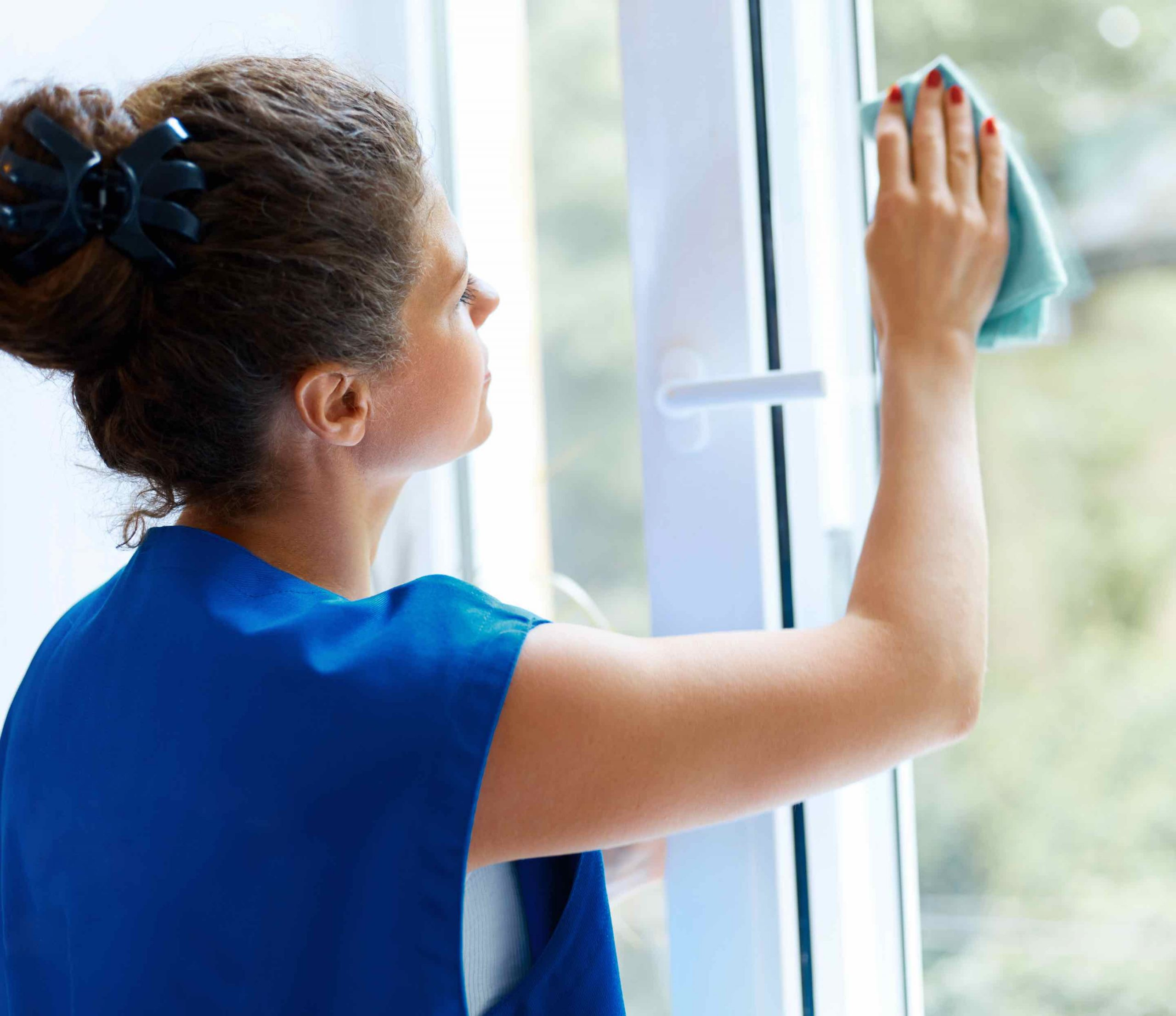 Woman using Plant-Based Glass Cleaner on window